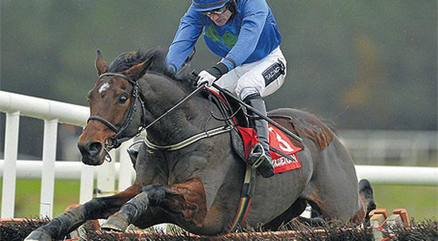 Hurricane Fly and RubyWalsh successfully negotiate the final flight on theirway to victory in the Morgiana Hurdle