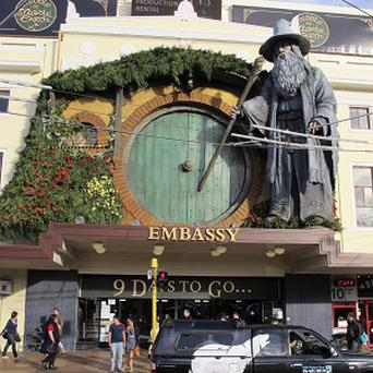 A giant statue of the Hobbit's Gandalf character in Wellington, New Zealand (AP)