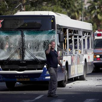 The Israeli bus used to bomb military headquarters (AP)