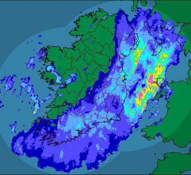 The Met Éireann rainfall radar at 9am this morning