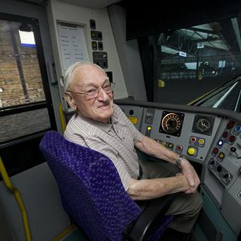 Albert McLean who visited Scotrail's train simulator at Central Station in Glasgow.