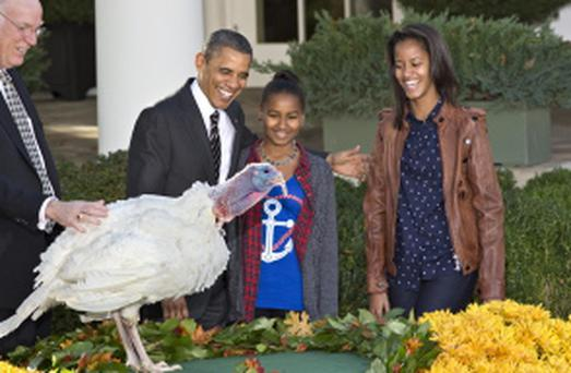 President Barack Obama, with daughters Sasha, center, and Malia, right, carries on the Thanksgiving tradition of saving a turkey from the dinner table with a