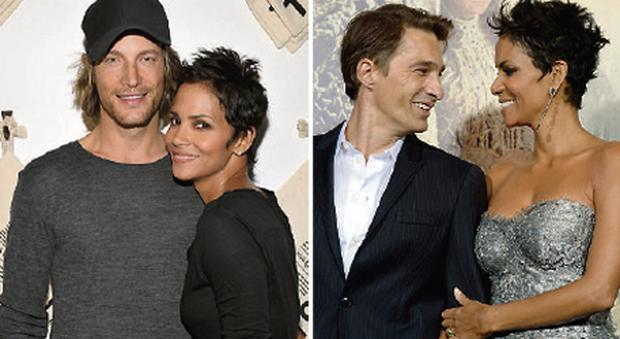 Left: Halle Berry pictured with her ex-boyfriend, Gabriel Aubry. Right: Berry with her current fiance, French actor Olivier Martinez.