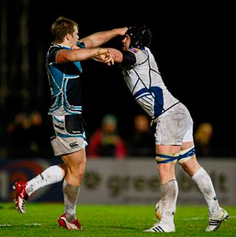 Leinster's Sean O'Brien makes his presence felt against Glasgow's Pat MacArthur.