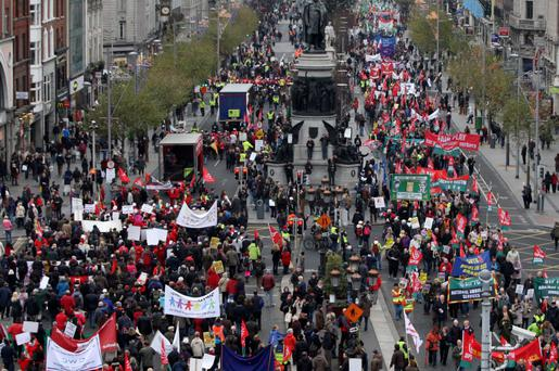 The march in Dublin today.