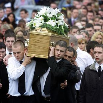 The funeral of Catholic teenager Gerard Lawlor took place in July 2002