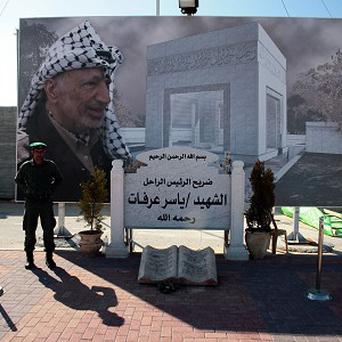 The grave of former Palestinian Authority President Yasser Arafat, at the Authority's headquarters in Ramallah