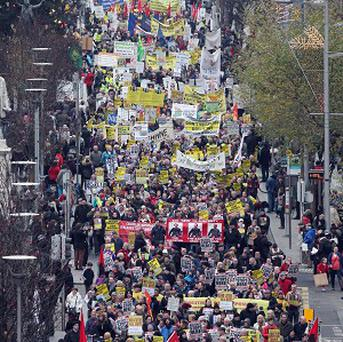 Trade union members march through Dublin City Centre in opposition to austerity measures