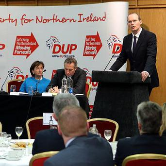 Simon Coveney, a minister in the Irish Government, gives an address as part of the DUP annual conference in Belfast