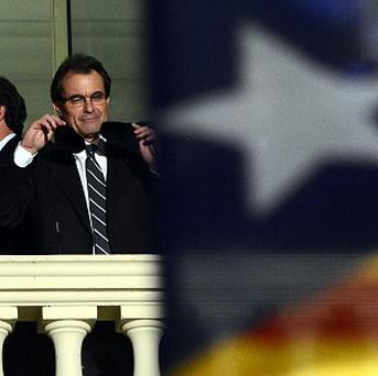The leader of the Catalan Nationalist Coalition Artur Mas addresses surpporters on the last day of campaigning (AP)