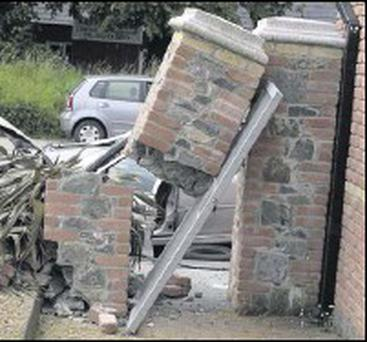 The demolished pillar on the Newry Road in Dundalk which was struck by Mr. Connors' car.