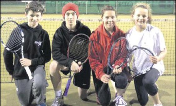 Some of the Dundalk tennis players who competed last week, from left to right, Kevin O Connor, Neil Jones, Ruth Copas and Aoife Tonna Barthet.