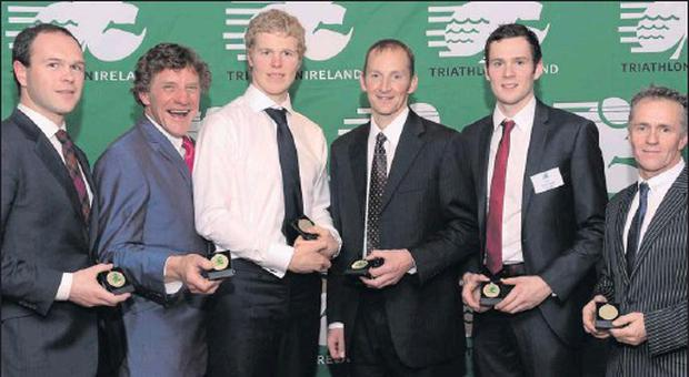 Neil O'Grady, Wexford; Jim Corbett, Wicklow; Stephen Early, Dublin; Trevor Woods, Cork; Scott Graham, Wicklow, and Liam Williams, Wicklow at the Triathlon Ireland Awards Dinner.