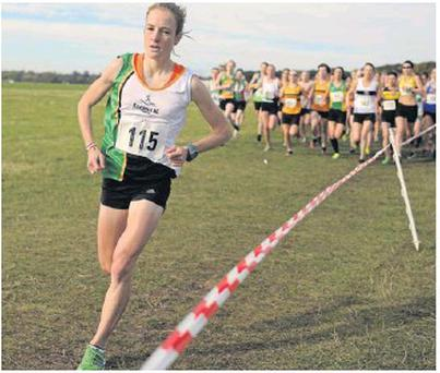 Fionnuala Britton leads the field on her way to winning the Gerry Farnan Cross Country 2012.