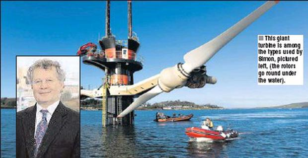 This giant turbine is among the types used by Simon, pictured left, (the rotors go round under the water).