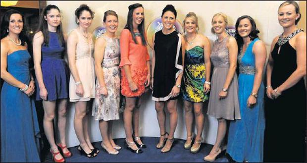 Cork's All-Star camogie nominees, from left, Jennifer O'Leary, Katrina Mackey, Pamela Mackey, Rena Buckley, Orla Cotter, Gemma O'Connor, Bridge Corkery, Jenny Duff, Aoife Murray and Síle Burns at the 2012 Camogie All Stars at the Citywest Hotel,...