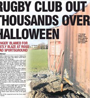 The damage caused to the container, which houses a generator for floodlights, at Enniscorthy Rugby Club's grounds.
