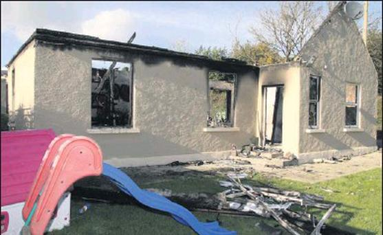 The remains of David O'Connor and his young family's home, which went up in flames on Saturday evening last.