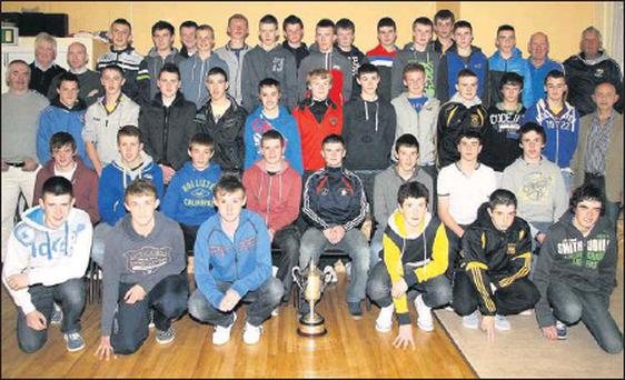 The Wexford U-15 hurling squad, winners of the annual Michael Foley Tournament, at the presentation of medals in Bellefield on Thursday.