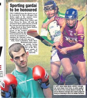 LEFT: Boxer Adam Nolan. ABOVE: Camogie star Josie Dwyer from Ferns, in action against Sean Flood in the novelty Wexford Hurling '96 versus Wexford Camogie 2012 match played in Gorey on Saturday in aid of St Aidans Services.