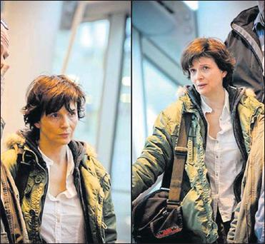 Juliette Binoche in scenes she was shooting for her new film at T2.