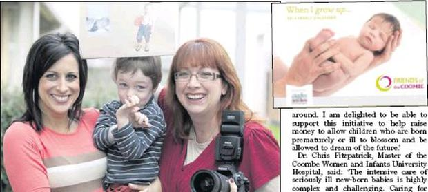 Local photographer Tanya Crosbie with Lucy Kennedy and Barra Hughes at the launch of the 'When I Grow Up' fundraising calendar; (above, right) the calendar.