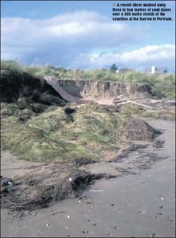A recent storm washed away three to four metres of sand dunes over a 400 metre stretch of the coastline at the Burrow in Portrane.