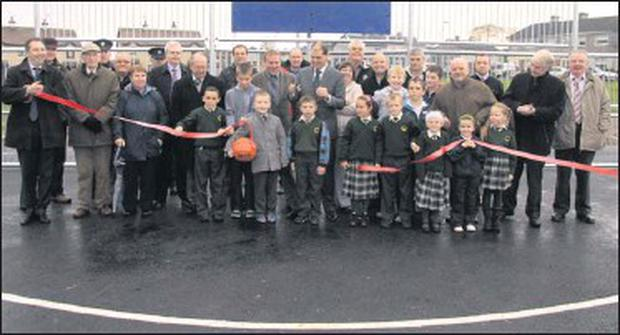 At the opening of MUGA (multi use games area) by junior minister, Paul Kehoe, at Gimont Avenue/Cluain Dara.