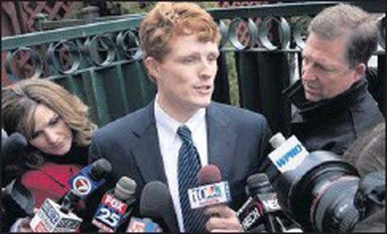 Joseph Kennedy III giving media interviews after his victory in the elections to the US Congress.