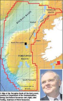 Map of the Porcupine Basin off the Kerry coast, courtesy of Department of the Communications, Energy and Natural Resources and (right) John Teeling, chairman of Petrel Resources.