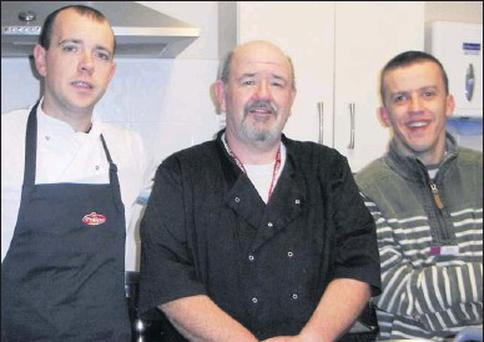 Chef Sid Sheehan (left) who is running cookery classes for men at the Family Resource Centre, pictured here with Paul Makin (Assistant Centre Cook) and Stephen Stack.
