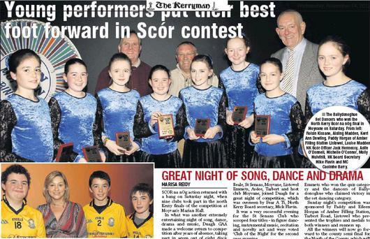 The Listowel Emmets team - quiz winners at the North Kerry of Scór na Og finals in Moyvane on Saturday night. Included are Seán O Ciara, Emmets Scór Officer Bridget Stack, Ciaran Pierce and Donal Sheehan. The Ballydonoghue Set Dancers who won the...