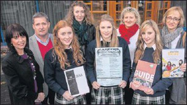 Presentation Tralee students Ashling Dowling, Saidbhe Horgan and Rachel McElligott are joined by Niamh Dwyer, Brendan Lynch, Mary Dowling, Noreen Browne and Bernice Slattery to launch the Careers Fair at the Brandon Conference centre on Wednesday...