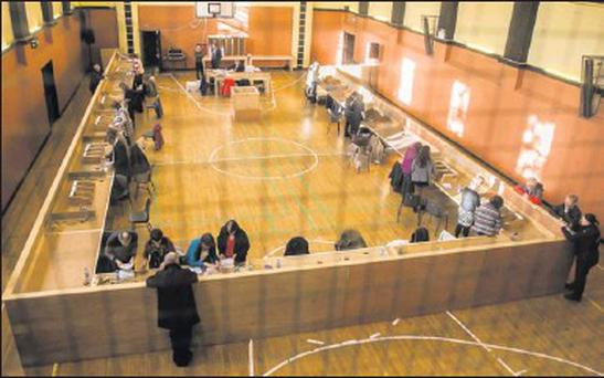 The scene at the very quiet North Kerry/West Limerick Count Centre in Tralee on Sunday morning.