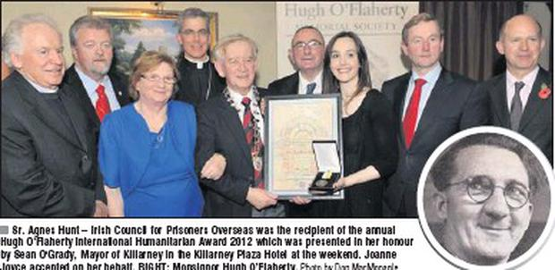 Sr. Agnes Hunt – Irish Council for Prisoners Overseas was the recipient of the annual Hugh O'Flaherty International Humanitarian Award 2012 which was presented in her honour by Sean O'Grady, Mayor of Killarney in the Killarney Plaza Hotel at the... Credit: Photo by Don Macmonagle