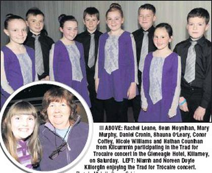 ABOVE: Rachel Leane, Sean Moynihan, Mary Murphy, Daniel Cronin, Shauna O'Leary, Conor Coffey, Nicole Williams and Nathan Counihan from Kilcummin participating in the Trad for Trocaire concert in the Gleneagle Hotel, Killarney, on Saturday. LEFT: Niamh... Credit: Photo by Michelle Cooper Galvin