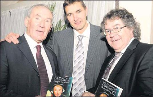 Legendary Kerry Footballer Maurice Fitzgerald (centre) launching Weeshie Fogarty's book 'My Beautiful Obsession' Chasing the Kerry Dream with Weeshie and Gabriel Fitzmaurice Kerry poet and author at the Gleneagle Hotel, Killarney on Friday. Credit: Photo by Michelle Cooper Galvin