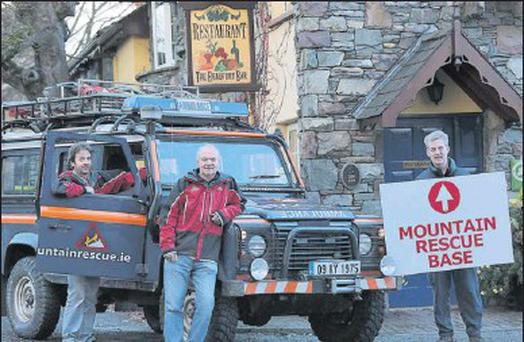 Members of the Kerry Mountain Rescue Team John O'Sullivan, left, and Joe Doran with Padraic O'Sullivan, of The Beaufort Bar, announcing details of this year's Kerry Mountain Rescue Team fundraiser night, which takes place on Friday, November 30, at the...