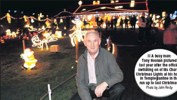 A busy man: Tony Noonan pictured last year after the official switching on of his Charity Christmas Lights at his home in Templeglantine in the run up to last Christmas. Credit: Photo by John Reidy
