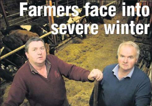Cousins, Murt (left) and Paddy Breen pictured in Paddy's cattle shed in Coolnageragh, Scartaglin, where his herd has been since the end of September due to the unprecedented spell of bad weather. Credit: Photo by John Reidy