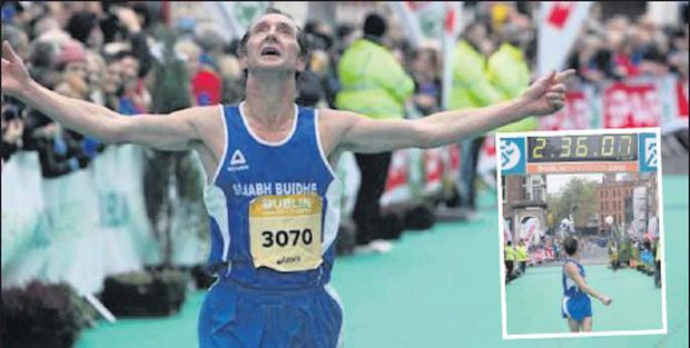 Tommy McElwaine at the end of the Dublin City Marathon, and (inset) checking his time.