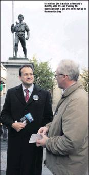 Minister Leo Varadkar in Wexford's Bullring with Dr Liam Twomey TD, canvassing for a yes vote in the run-up to Referendum Day.
