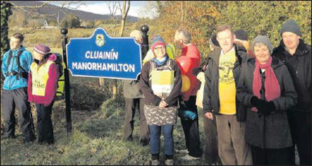 Representatives of the Love Leitrim group with Deputy Michael Colreavy (third from right) turned out to wish Cecily Gilligan (second left) the best of luck as she embarks on her anti-fracking walk from Manorhamilton to Dublin.
