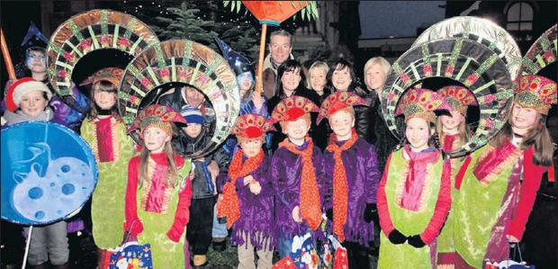 A colourful Christmas group form Grange taking part in the market festivities last year.