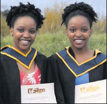 Twins Nala and Naledi Shologhu from South Africa who were both conferred with a Bachelor of Science in Biomedical Science.