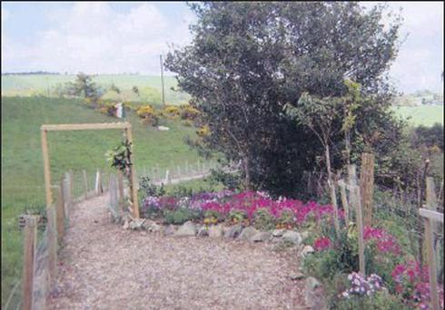The newly installed garden along the walkway to St. Patrick's Well, Kilpatrick, Redcross.