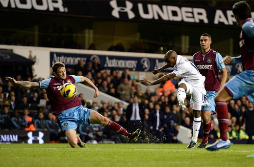 Tottenham Hotspur's Jermain Defoe scores against West Ham United. Photo: Reuters