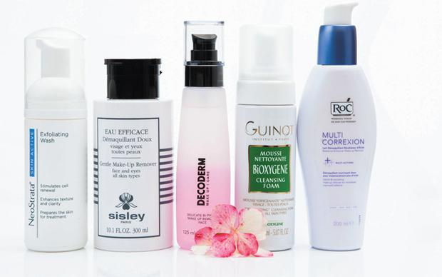 From left: NeoStrata Exfoliating Wash; Sisley Eau Efficace; Decoderm Delicate Bi-Phase Face Make-Up Remover; Guinot BiOxygene Cleansing Foam; Roc Multi-Correxion Radiance Enhancer Make-Up Remover