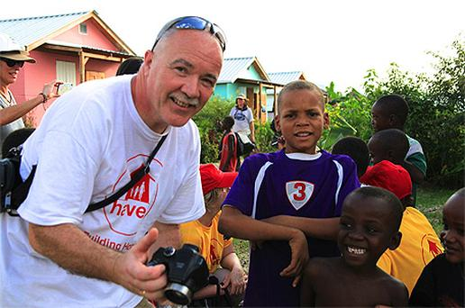 Haven Volunteer Dermot Heffernan with some new friends