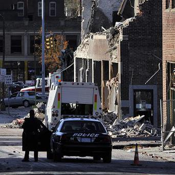 The area where a gas explosion levelled a strip club in Springfield, Massachusetts (AP/Jessica Hill)